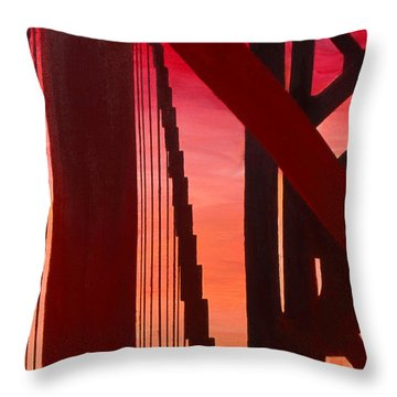 Golden Gate Art Deco Masterpiece Throw Pillow