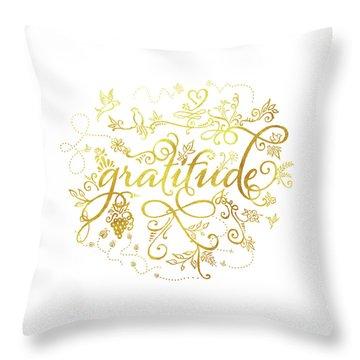 Golden Gratitude Throw Pillow