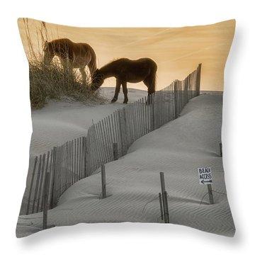 Golden Horses Throw Pillow