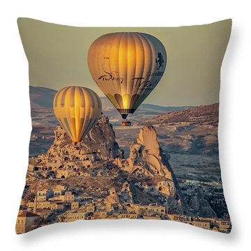 Throw Pillow featuring the photograph Golden Hour Balloons by Francisco Gomez