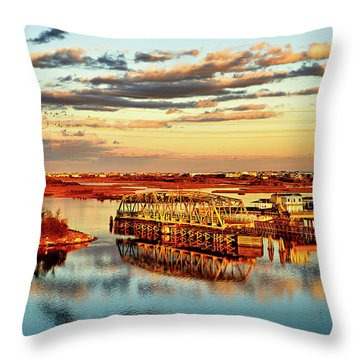 Golden Hour Bridge Throw Pillow