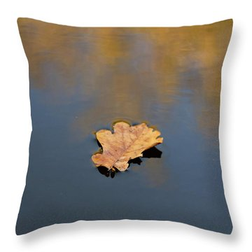 Golden Leaf On Water Throw Pillow