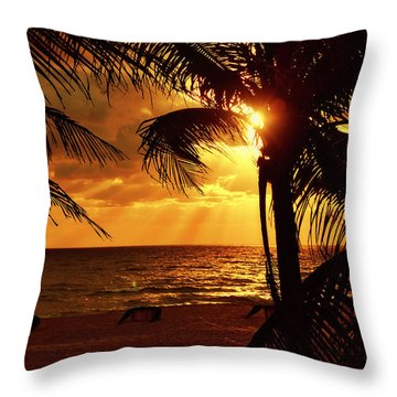 Golden Palm Sunrise Throw Pillow