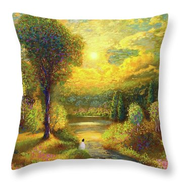 Golden Peace Throw Pillow