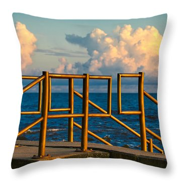 Golden Railings Throw Pillow