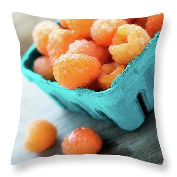 Golden Raspberries Throw Pillow