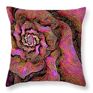 Throw Pillow featuring the digital art Golden Rose by Missy Gainer