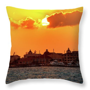 Golden Sky In Cancun Throw Pillow