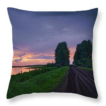 Golden Sunset Near Westlock Throw Pillow