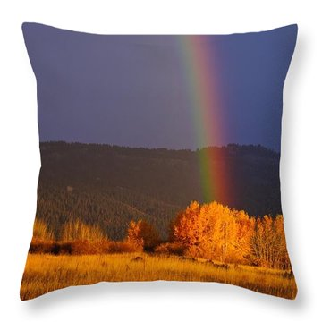 Golden Tree Rainbow Throw Pillow