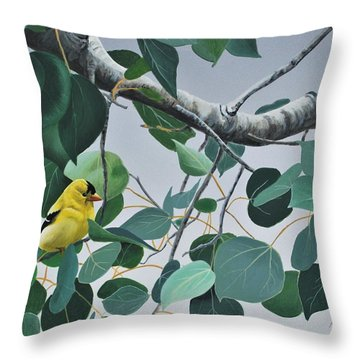 Goldfinch And Aspen Throw Pillow