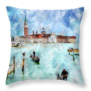Gondola Rides And San Giorgio Di Maggiore In Venice Throw Pillow