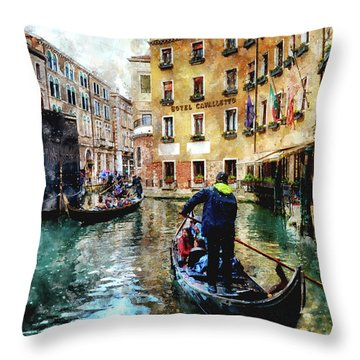 Gondola Traffic Near Piazza San Marco In Venice, Italy - Watercolor Effect Throw Pillow