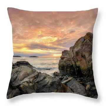 Throw Pillow featuring the photograph Good Harbor Rock View 1 by Michael Hubley