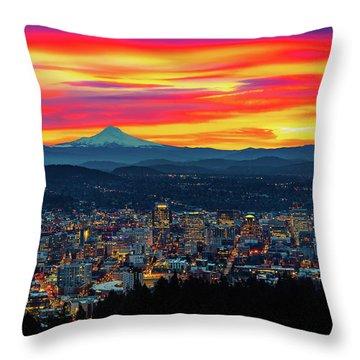 Good Morning Portland Throw Pillow