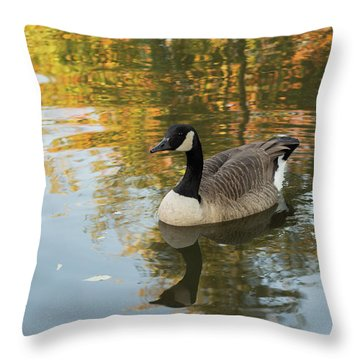 Throw Pillow featuring the photograph Goose Reflecting In Water by Scott Lyons