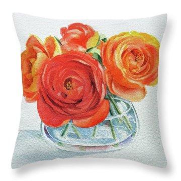 Gorgeous Ranunculus Watercolor Bouquet Throw Pillow
