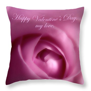 Throw Pillow featuring the photograph Gorgeous Soft Pink Rose For Valentines Day by Johanna Hurmerinta