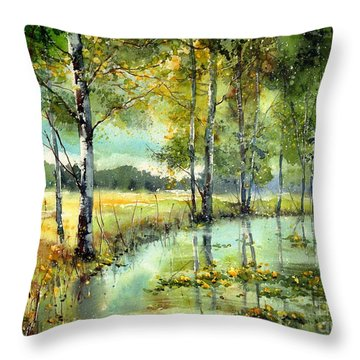 Gorgeous Water Lilies Bloom Throw Pillow