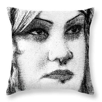 Goth Headshot Throw Pillow