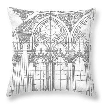 Throw Pillow featuring the drawing Gothic Arches by James Fannin