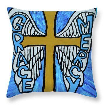Throw Pillow featuring the painting Grace And Mercy by Christopher Farris