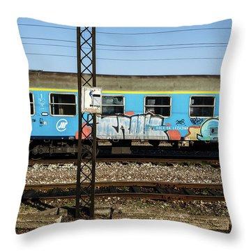 Graffitied Train Throw Pillow