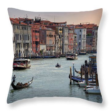 Grand Canal Gondolier Venice Italy Sunset Throw Pillow