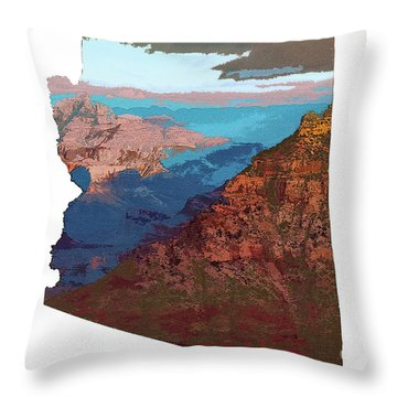 Grand Canyon In The Shape Of Arizona Throw Pillow
