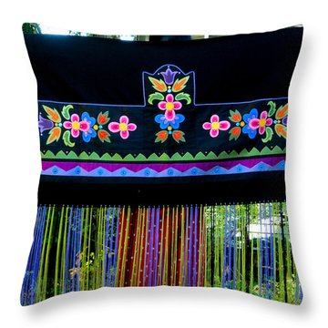 Throw Pillow featuring the tapestry - textile Grand Mothers Garden by Chholing Taha