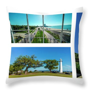 Grand Old Lighthouse Biloxi Ms Collage A1a Throw Pillow