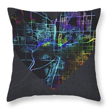Grand Rapids Michigan City Heart Street Map Love Dark Mode Throw Pillow