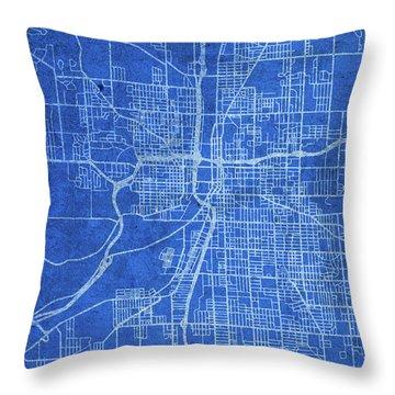 Grand Rapids Michigan City Street Map Blueprints Throw Pillow