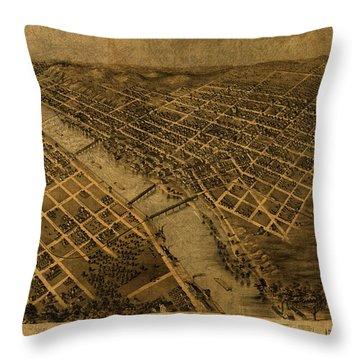 Grand Rapids Michigan Vintage City Street Map 1868 Throw Pillow