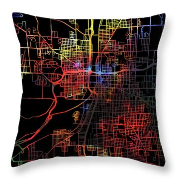 Grand Rapids Michigan Watercolor City Street Map Dark Mode Throw Pillow