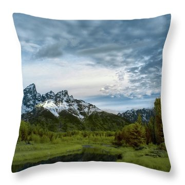 Grand Tetons Mountain Throw Pillow