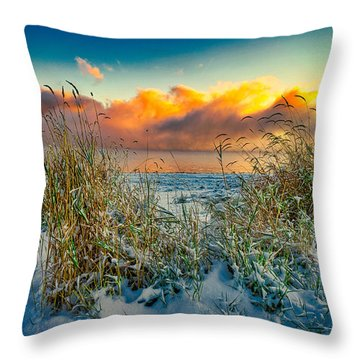Grass And Snow Sunrise Throw Pillow