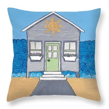 Gray Cottage On The Beach Throw Pillow