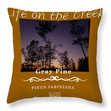 Gray Pine Throw Pillow
