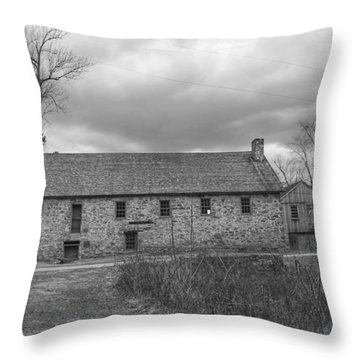 Grey Skies Over Fieldstone - Waterloo Village Throw Pillow
