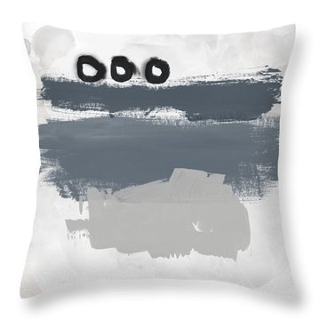 Grayscale 1- Abstract Art By Linda Woods Throw Pillow