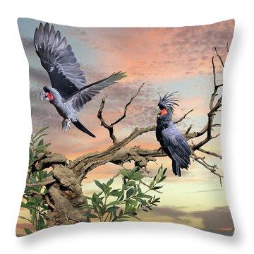 Great Black Cockatoo Pair Throw Pillow