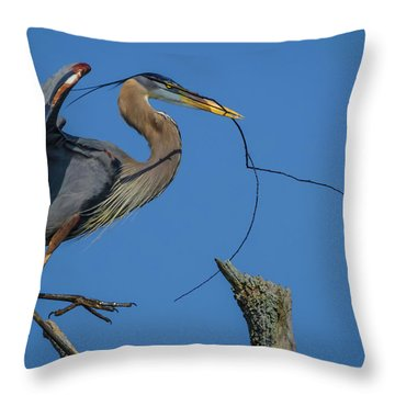 Great Blue Heron 4034 Throw Pillow