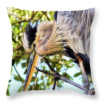 Great Blue Heron Close Up Throw Pillow