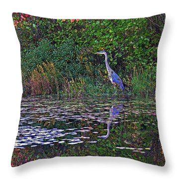 Great Blue Heron In Autumn Throw Pillow