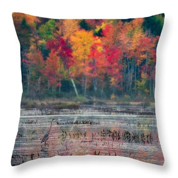 Throw Pillow featuring the photograph Great Blue Heron On Loon Lake by Brad Wenskoski