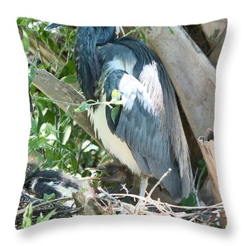 Great Blue Heron On Nest With Baby Throw Pillow