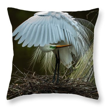 Great Egret Beauty Throw Pillow