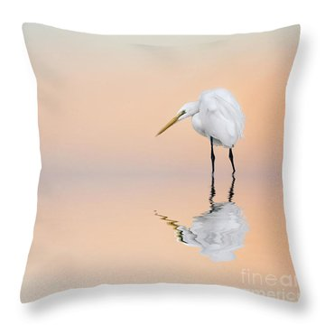Great Egret Reflecting Throw Pillow
