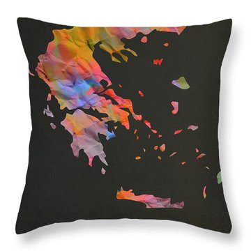 Greece Tie Dye Country Map Throw Pillow